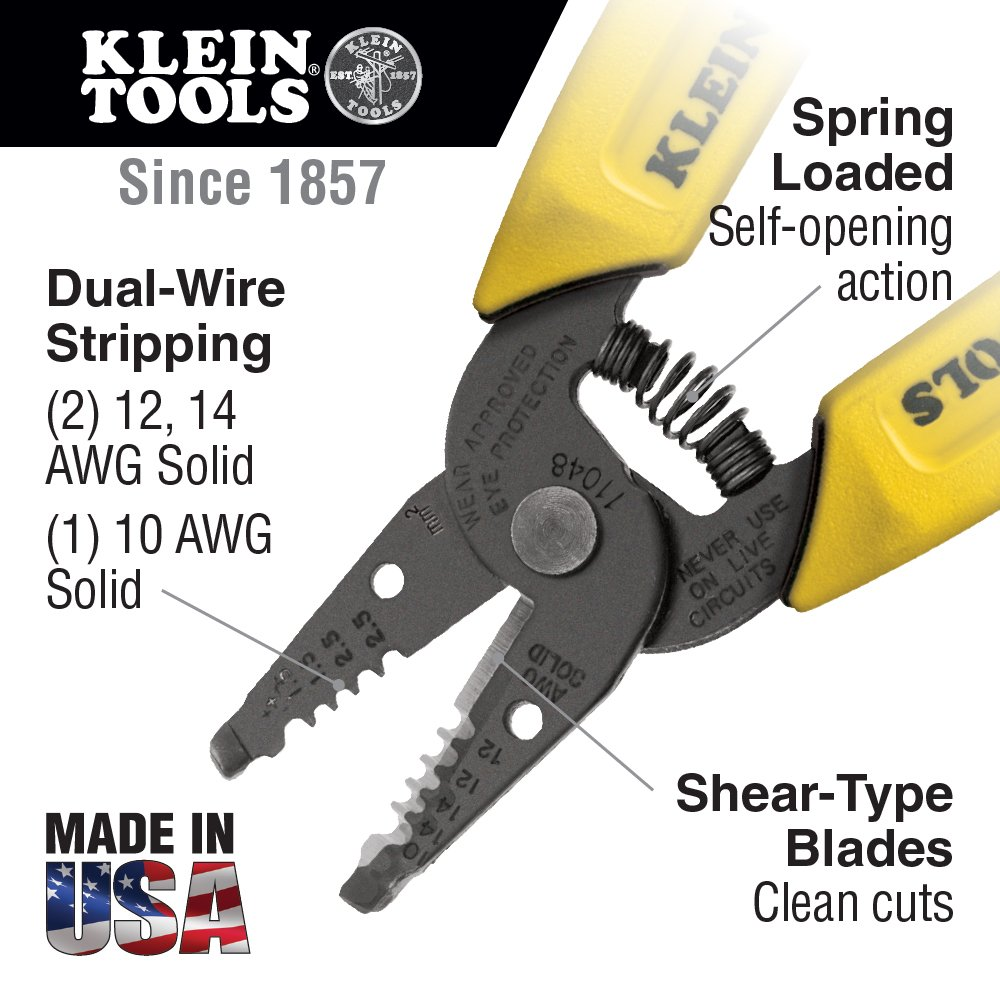 Dual-Wire Stripper/Cutter for Solid Wire Klein Tools 11048 ...