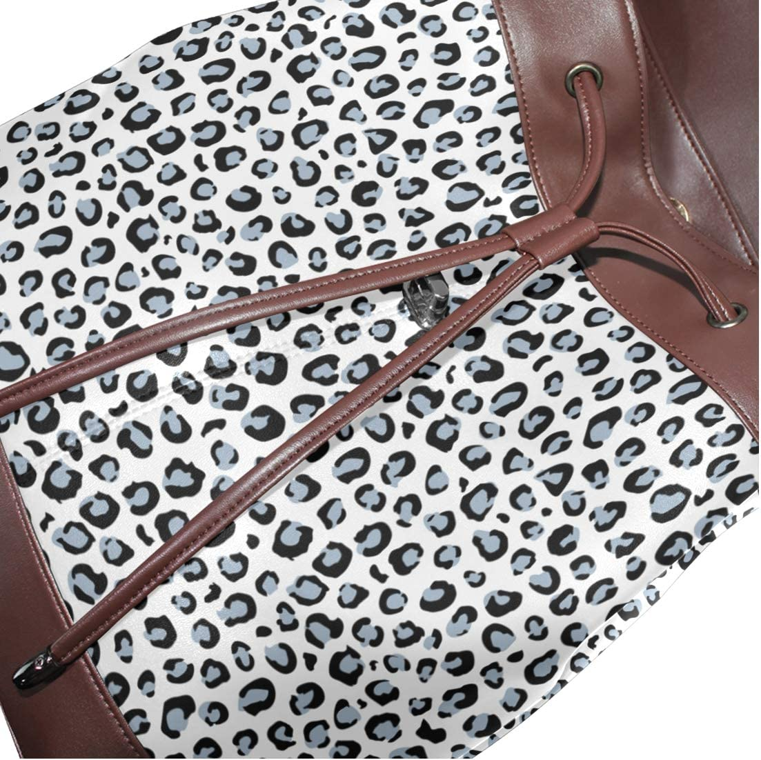 Leather Pattern With Leopard Skin Backpack Daypack Bag Women