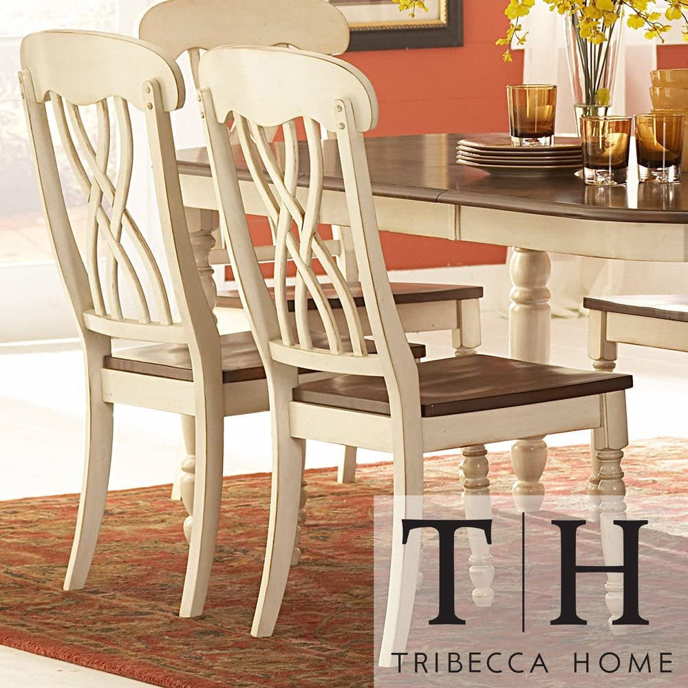 Amazon Com Theses Charming Set Of Two Dining Chairs Would Make A Perfect Addition To The Country Style Dining Room Chair In Your Home It S Made Of Solid Hardwood W A Two Toned Butter