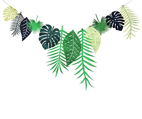 Christmas In Hawaii Party.Tropical Leaves Banner Garland Hawaiian Luau Party Jungle Beach Theme Decoration Birthday Wedding Party Supplies
