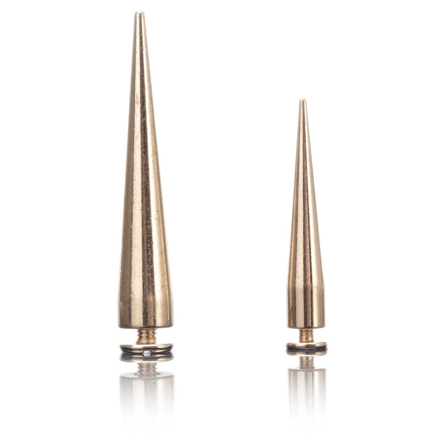 55MMX20Pcs, Gold Uviviu 20 Pcs Brass Spike Studs and Spikes Metalic Screw Back Spots,for Leathercraft Rivet Bullet Leather Clothing Punk DIY Leather Crafts