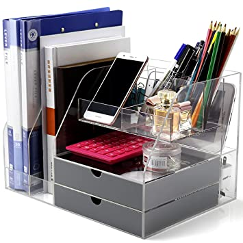 office supplies storage. Home Office Organizer Storage Box for Women Men with 2 Gray  Drawers Amazon com