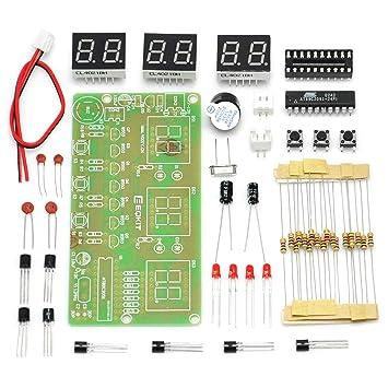 Gikfun AT89C2051 - Kit de reloj electrónico digital LED de 6 bits para soldar y practicar