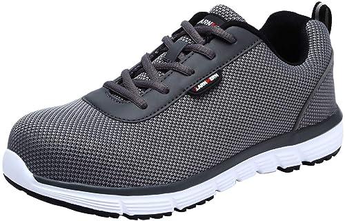 Zapatillas de Seguridad Hombres,LM-30 Zapatos de Trabajo de Cabeza de Acero Transpirable