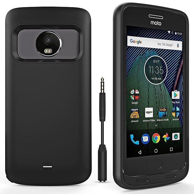 lowest price f2df1 9ea53 Moto G5 Plus Battery Case, ALCLAP 4400mAh with Headphone Jack Extender  Charger Case Portable Charging Case Compatible Motorola Moto G Plus 5th ...