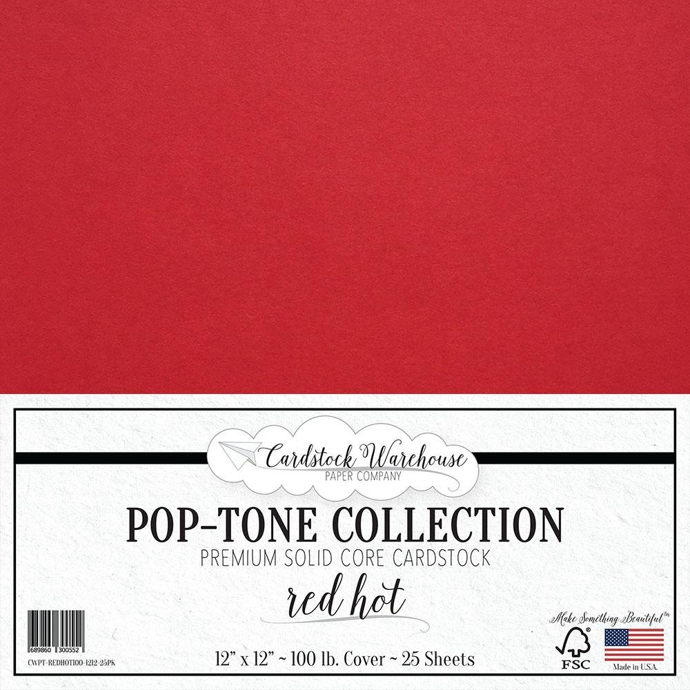 RED HOT RED Cardstock Paper - 12 x 12 inch 100 lb. Heavyweight Cover - 25 Sheets from Cardstock Warehouse Cardstock Warehouse Paper Company Inc. 4336871144