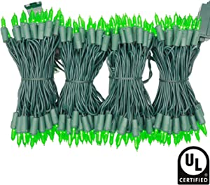 YULETIME UL Certified Green LED Christmas String Lights, 66 Feet 200 LED Commercial Grade Christmas Light Set, Connectable Home Decor Lights for Patio Garden Wedding Holiday Halloween (Green)