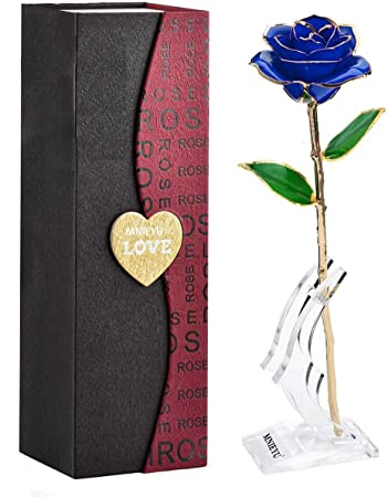 Mother Gold Dipped Rose Pink Girlfriend NICEAO Gold Rose 24K Artificial Flowers Dipped Rose Gold Plated Rose with Transparent Stand for Lover