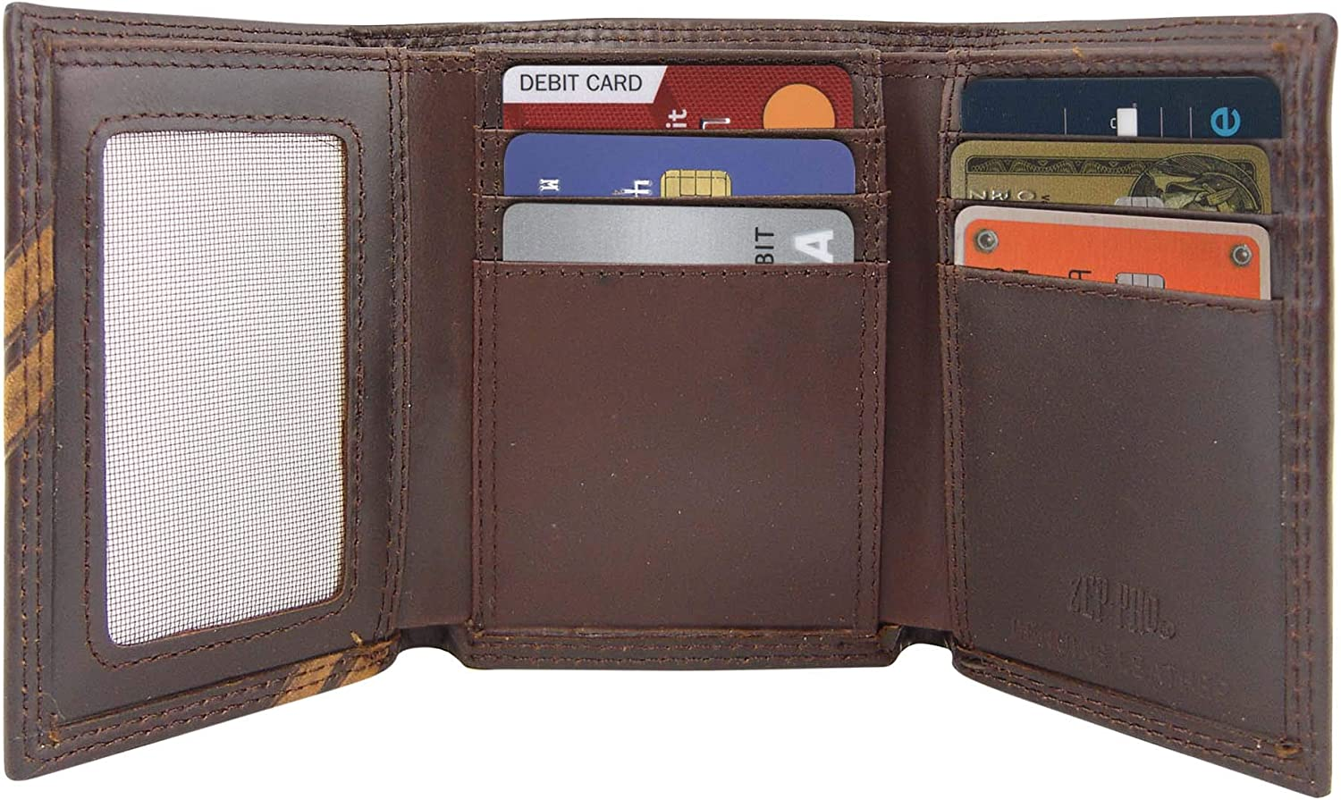 Brown NCAA Clemson Tigers Zep-Pro Pull-Up Leather Trifold Embossed Wallet