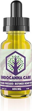 Endocanna Care 600mg Pure Hemp Extract in Cold Pressed Organic Hemp Seed Oil (15 ml.), 0.50 Fluid Ounce