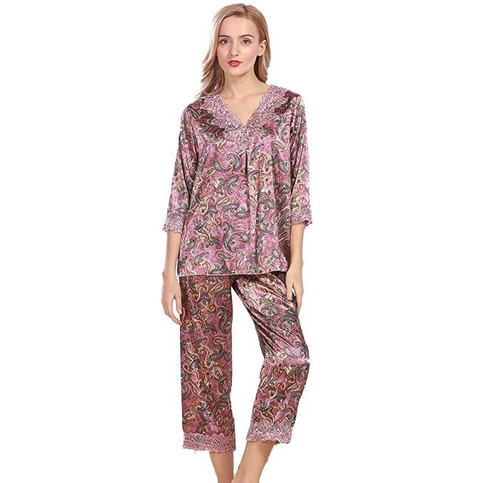 Pijamas De Seda De Las Mujeres Cómodos Pantalones Casuales Atractivos Del Juego Pijamas De Manga Larga