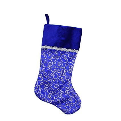 northlight 205 blue and silver glitter filigree swirls christmas stocking with decorative metallic trim - Blue Christmas Stocking