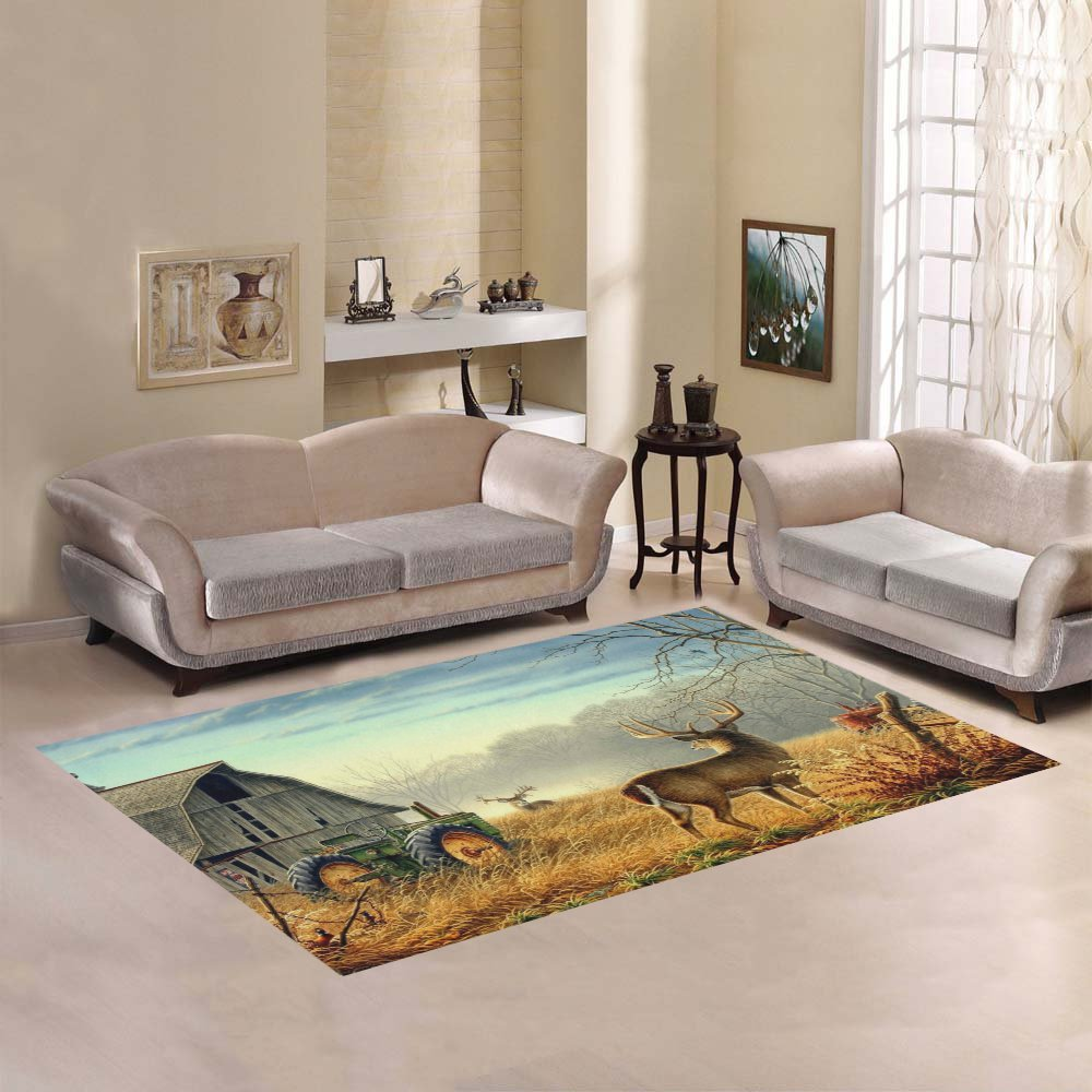 JC-Dress Area Rug Cover Deer Farm Fence Field Modern Carpet Cover 7'x5' by Area Rugs