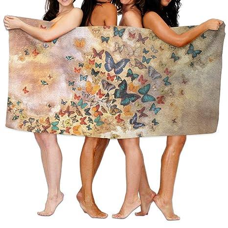 Juego de toallas de baño y bolsa de playa con diseño de mariposas, tamaño grande
