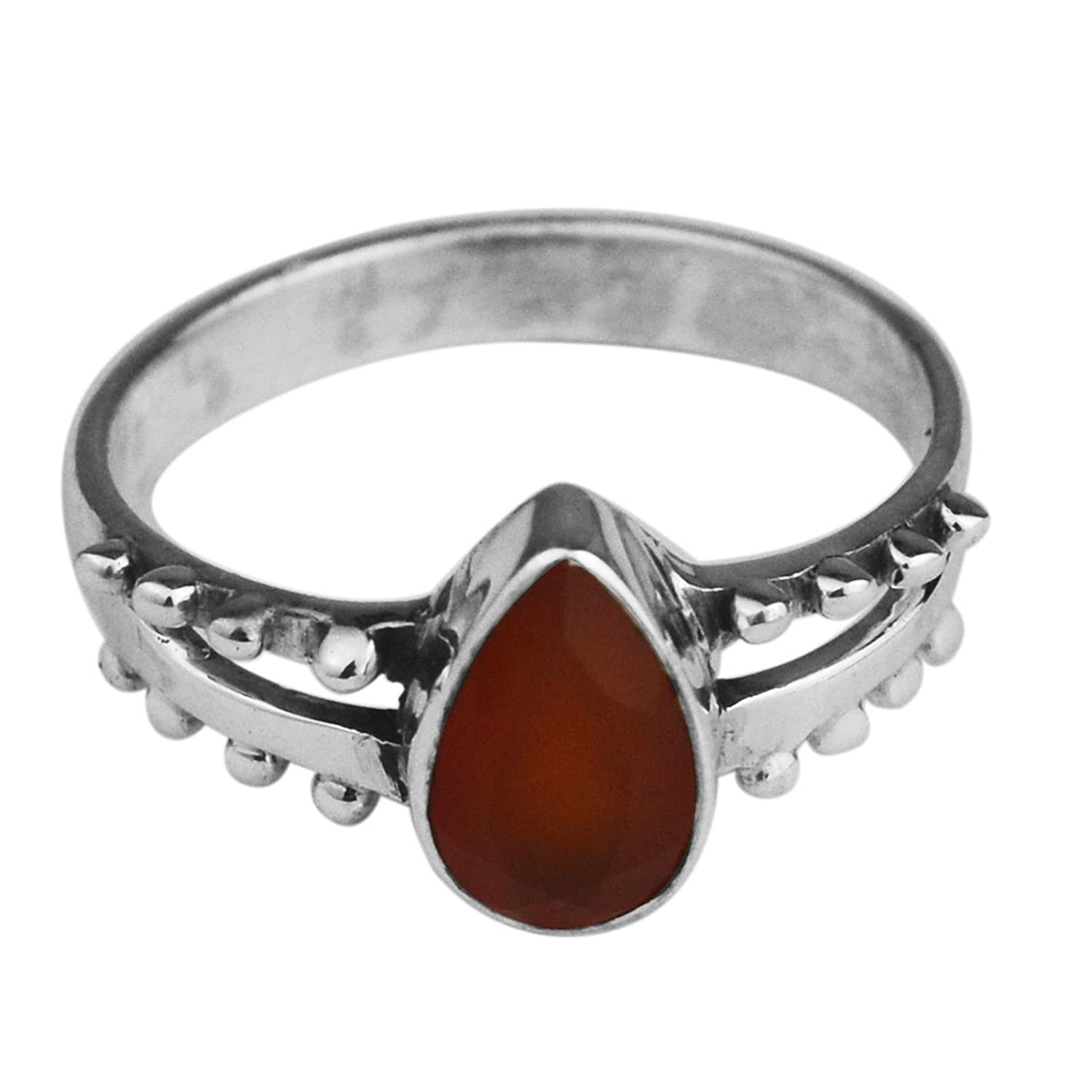 Crystalcraftindia Lucky Carnelain gemstone Ring Size 6 US 2.14 g 925 Sterling Silver