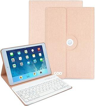 COO Funda con Teclado iPad 2017 9.7, 360 Grados Soporte Giratorio Cuero de la PU Cubierta con Teclado Bluetooth extraíble iPad 2017 9.7,iPad Air 1/2, ...