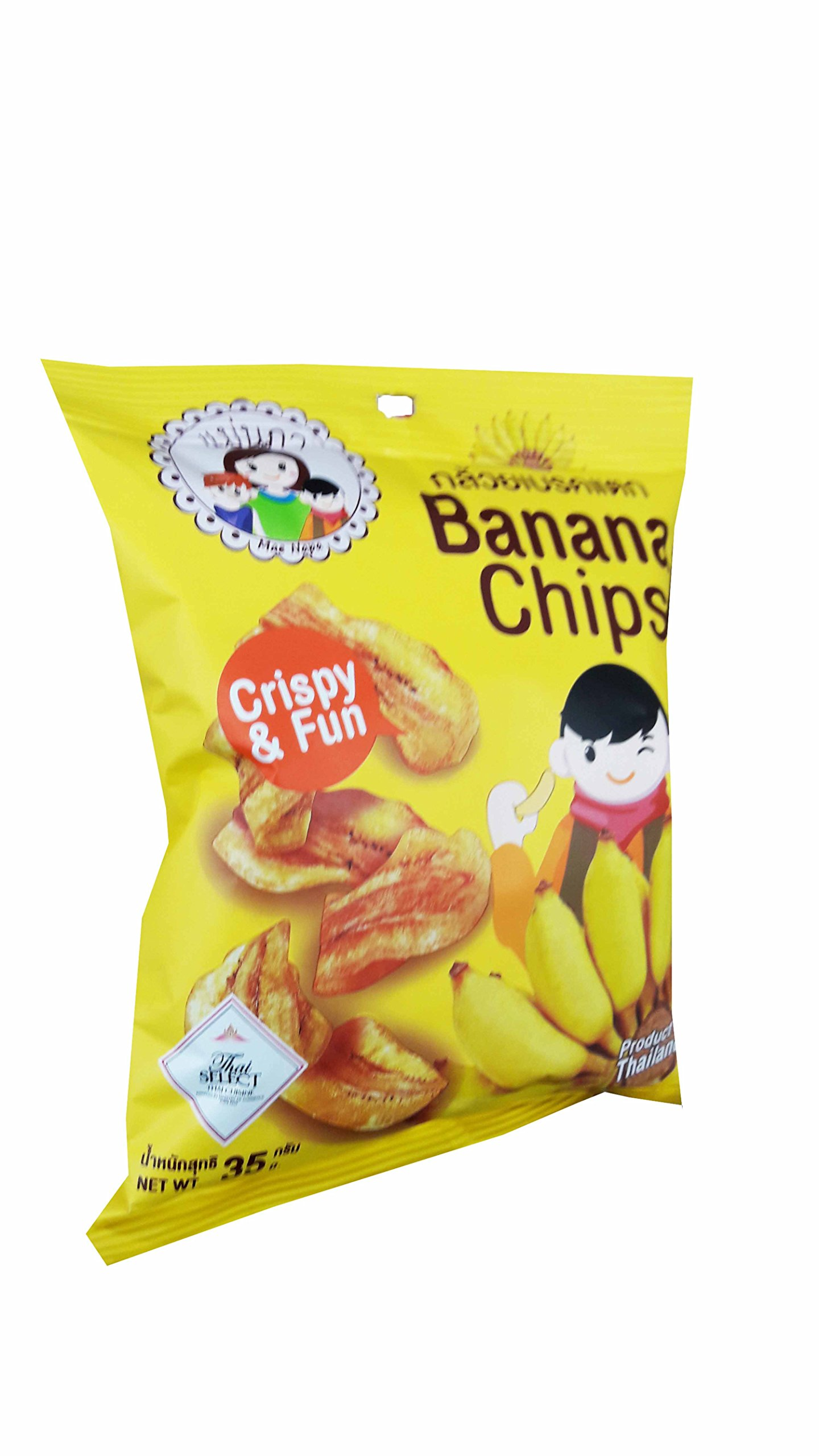 3 packs of Banana Chips, Crispy Banana by Mae Napa, Healthy and Delicious Snack. Premium quality snack from Thailand.(35 g/pack) by Mae Napa (Image #3)