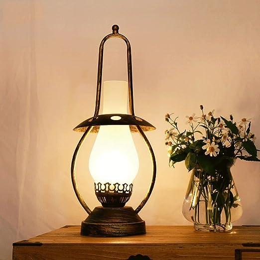 Modeen Lámpara de mesa de hierro industrial retro campo 46cm, E27 ...