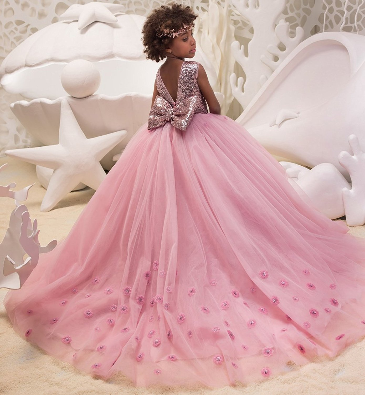 Vestido de tul 19572 para de boda con lentejuelas, boda color rosa ...