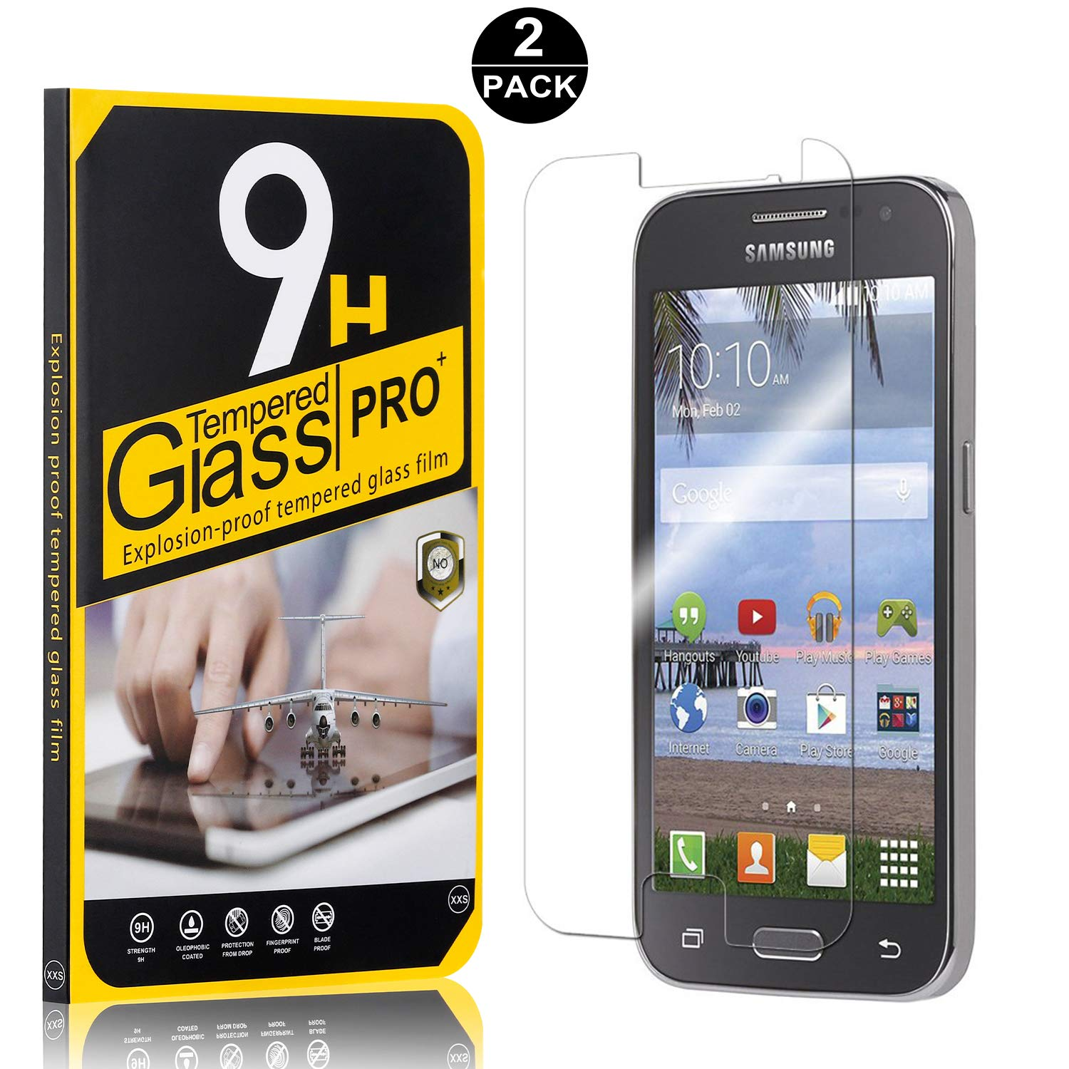 UNEXTATI 9H Hardness Screen Protector Film 3 Pack Galaxy Core Prime Tempered Glass Screen Protector HD Clear Tempered Glass Film for Samsung Galaxy Core Prime