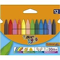 BIC KIDS driekantig waskrijt PLASTIDECOR Triangle, 12 kleuren gesorteerd, groepsverpakking 12 Stuk multicolor