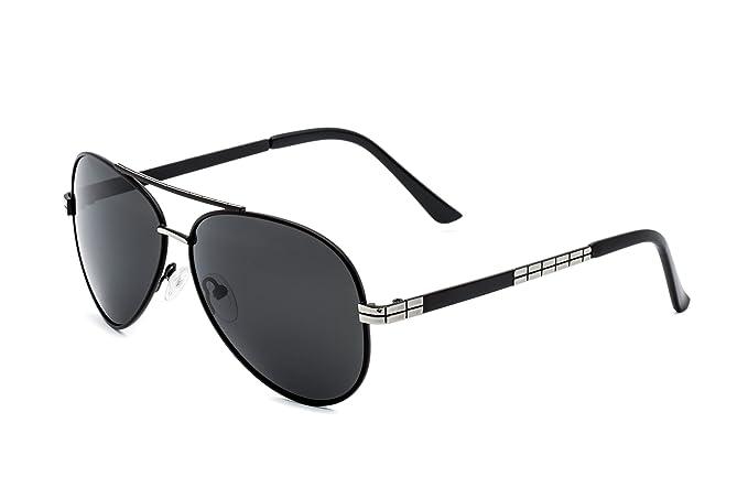 Hombre Gafas de Sol Polarizadas Aviador UV 400 Protección Gafas Ligeras con Estuche (Verde 1) If8lYlP