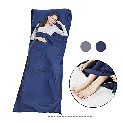 Seda Suave para Saco de Dormir con Cremallera – Ligera Sábana de Viaje Camping Saco de