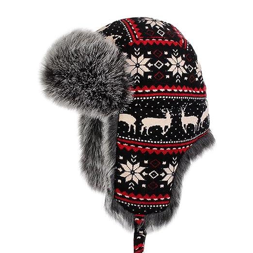 c4c98357e04 LETHMIK Winter Faux Fur Hunting Hat Unisex Trapper Russian Aviator Trooper  Hat Deer Small   7