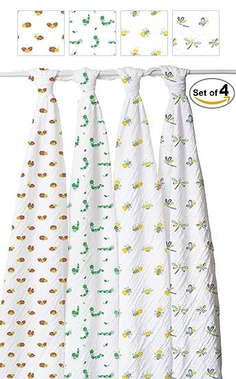 Amazon.com: Bebé Swaddle Manta Conjunto de 4, grande Premium ...