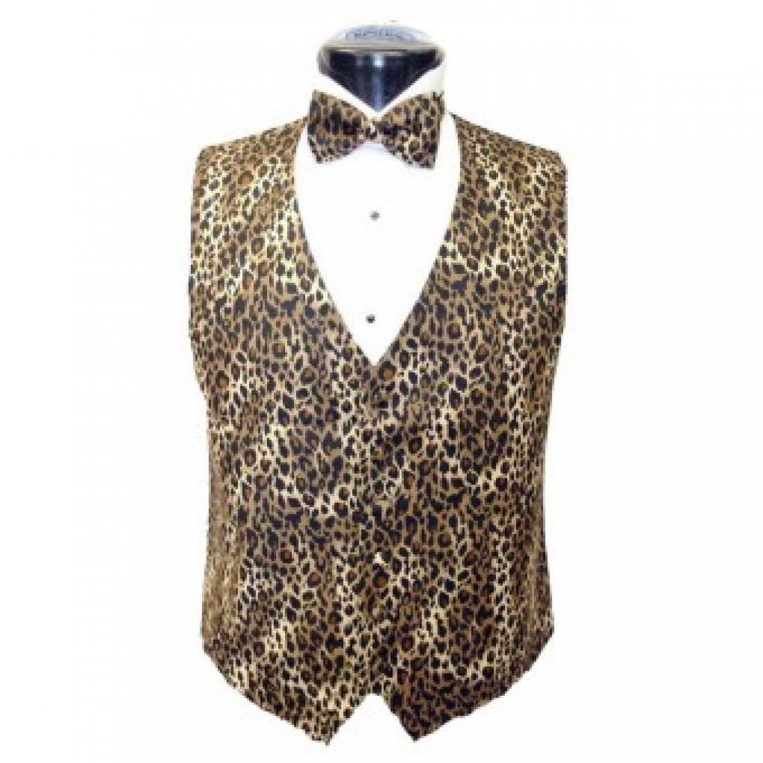 Brown Leopard Tuxedo Vest and Bow Tie Size Large