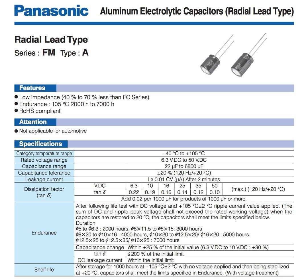 12.50mm X 20.00mm Pack of 4 Panasonic FM 680uF 35V Low-ESR Aluminum Electrolytic Capacitors 5000 hours @ 105C 20/% Tolerance FM Series Leaded