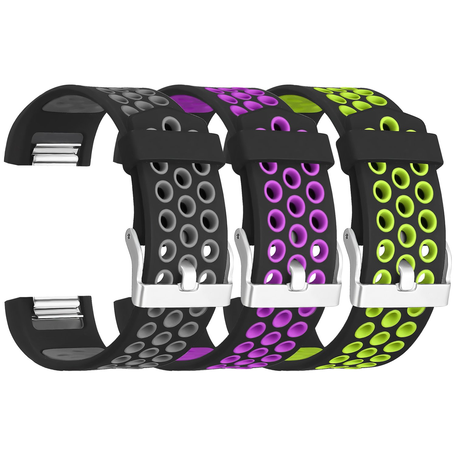 SKYLET for Fitbit Charge 2 Bands, 3 Pack Breathable Silicone Replacement Bands for Fitbit Charge 2 with Secure Watch Clasp (No Tracker)[Small, 3PC: Black-Gray&Black-Purple&Black-Green] by SKYLET