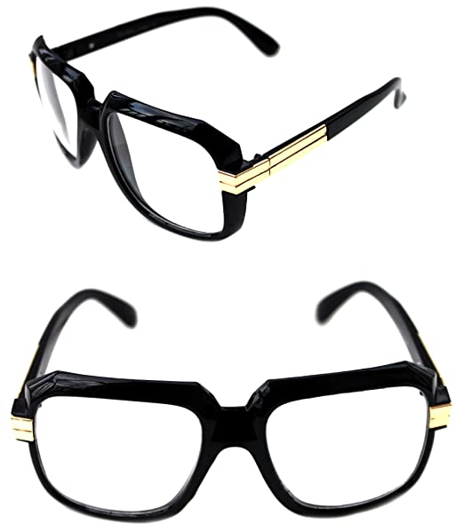 d6521bc67800 MEN S Hip Hop 80 s Gazelle Vintage Polished Black Gold Frame Clear Lens Eye  Glasses 607 Retro