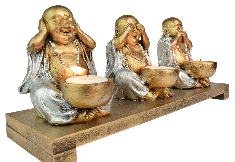 Grand bouddha voir entendre NE RIEN dire Triple Photophore pour bougie dor/é