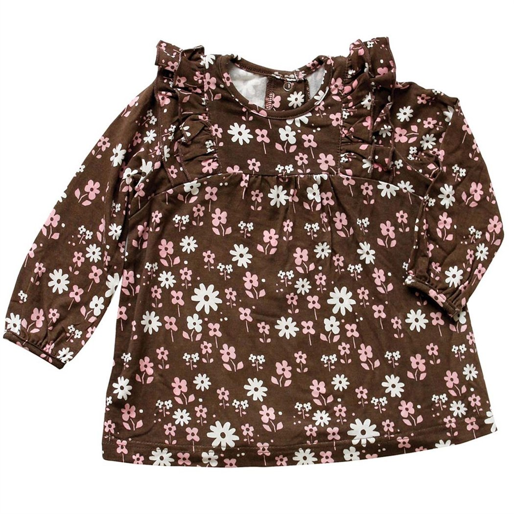 Silkberry Baby Bamboo Baby-Girls Floral Print Ruffle Top SBFT-704