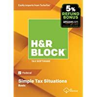 H&R Block Tax Software Basic 2018 with 5% Refund Bonus Offer [Amazon Exclusive] [PC Download]