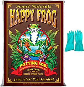 Fox Farm Happy Frog Potting Soil, 2 cu ft (Bundled with Pearsons Protective Gloves)