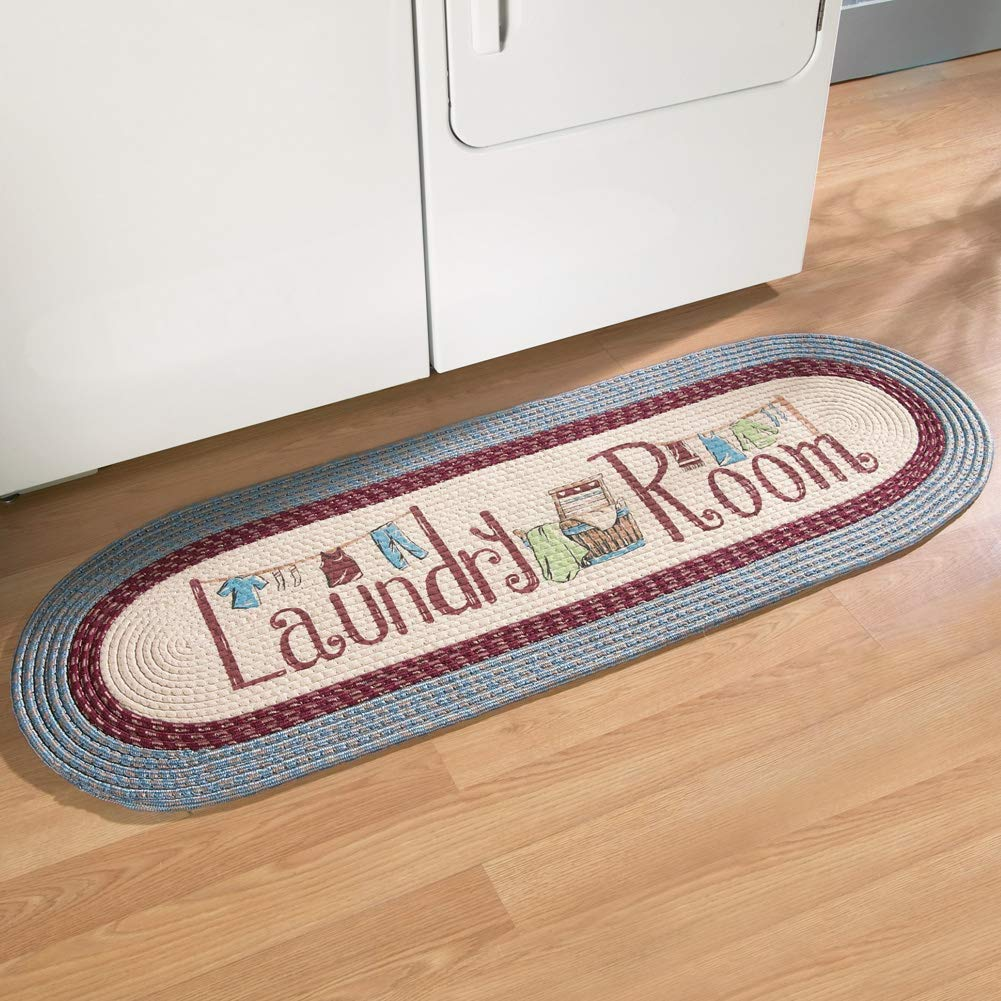 """Collections Etc Braided Laundry Room Floor Runner Rug with Blue and Burgundy Border, 20"""" x 48"""", Blue"""