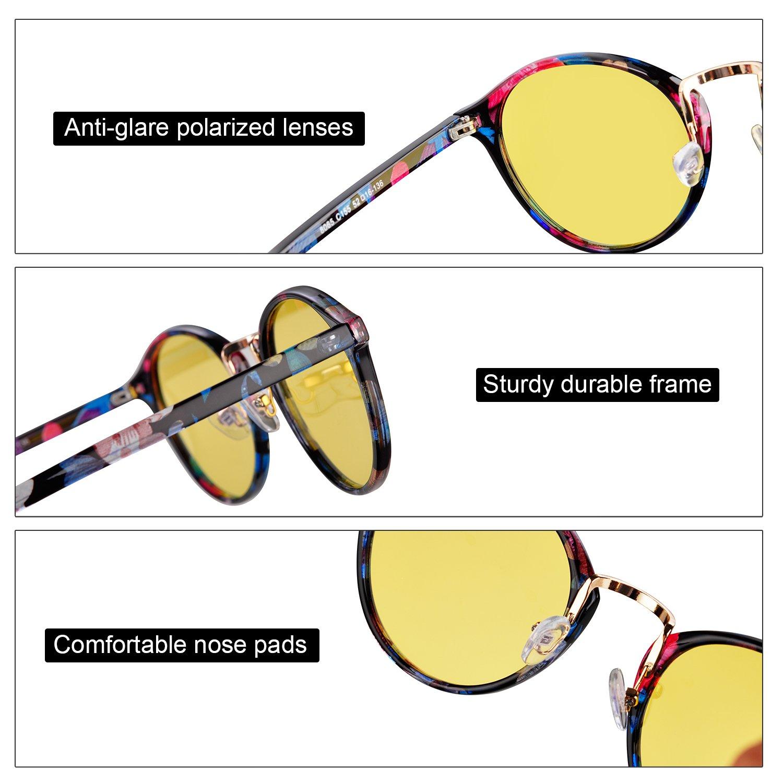 02c251fc7c0 Amazon.com  Night Vision Glasses Anti-glare Polarized Driving Sunglasses  Round Fashion Sun Glasses for women men(1)  Clothing