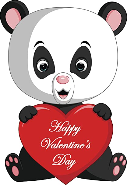 Amazon Com Cute Panda Bear Holding Happy Valentines Day Heart