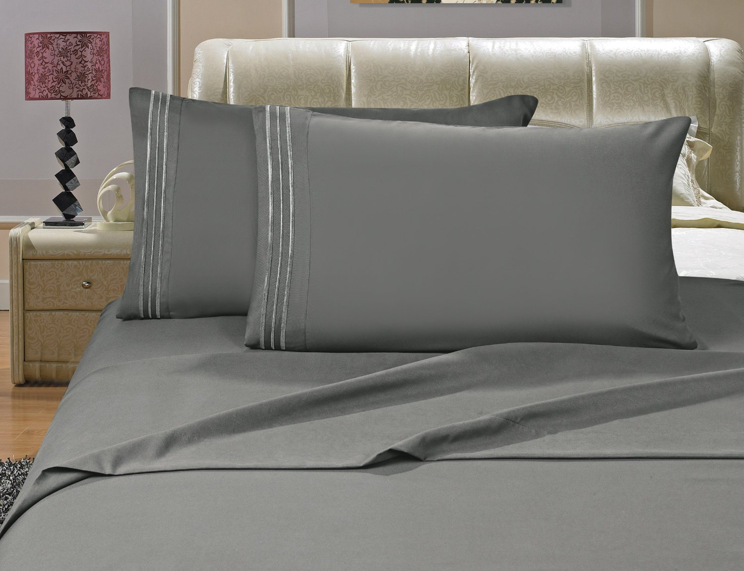 4-Piece Sheet set, Full Gray