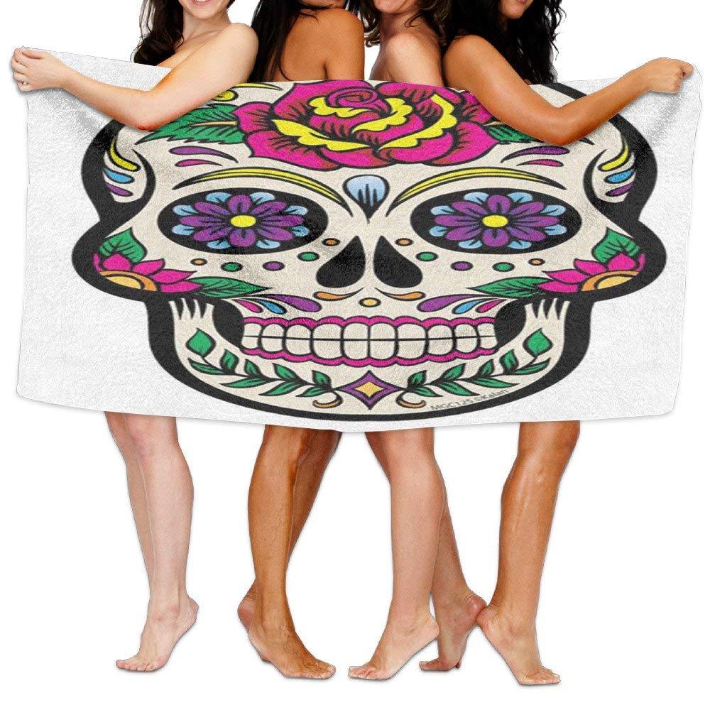 Gemao Beach Towel White Sugar Skull Trendy Microfiber Absorbent Solid Large Beach Towel