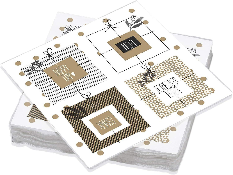Le Nappage - Servilletas decoradas en oro de abeto negro - Servilletas de papel en pura guata de celulosa - Decoración navideña - Juego de 20 servilletas tamaño 33 x 33 cm