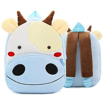 Kids Animal Backpack Toddler Cute Plush Mini Travel Bag Sweet Gift for Baby Boy Girl 1-6 Years (Cow) | Kids' Backpacks
