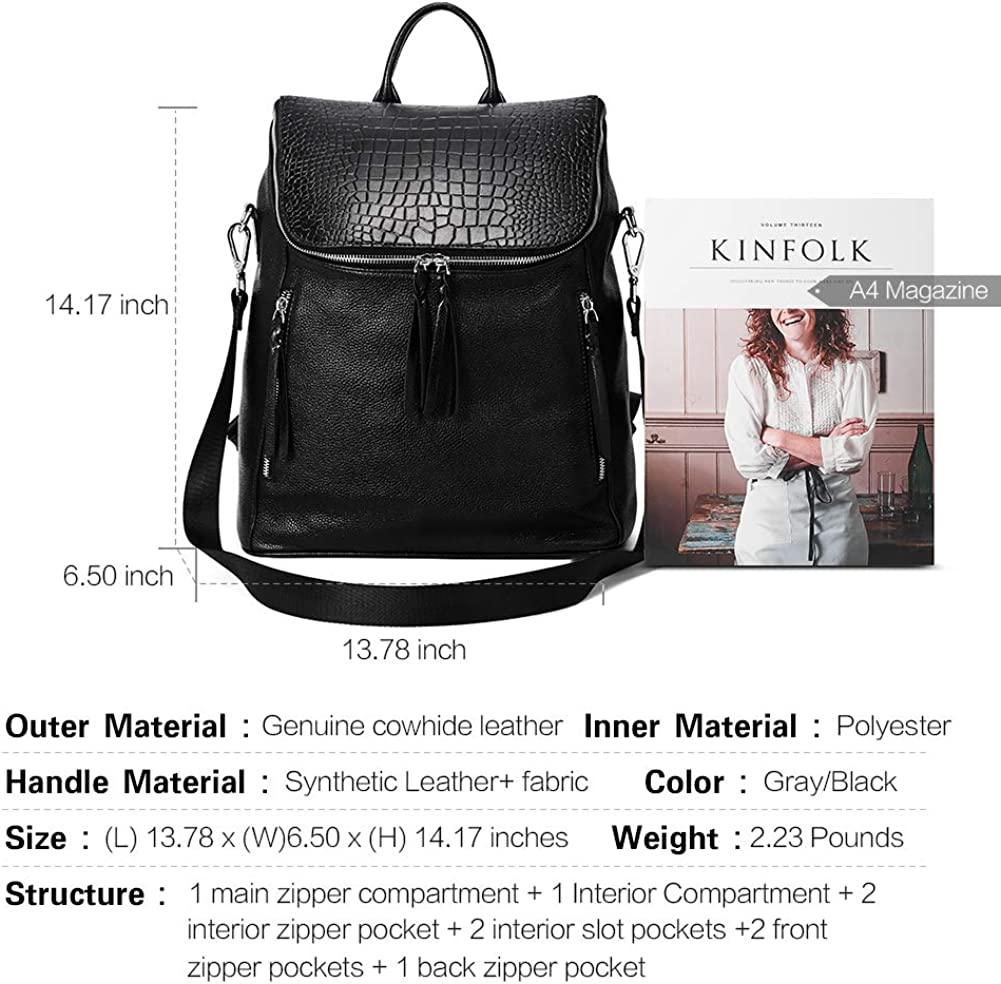 2 Front Pockets Color Black Genuine Leather Backpack