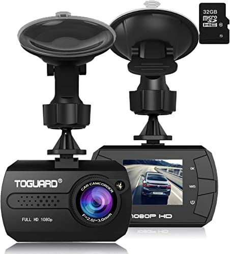 Dash Cam – TOGUARD Mini Dash Camera for Cars HD 1080P Wide Angle 1.5 LCD with G-Sensor Loop Recording Motion Detection 32GB Card Included