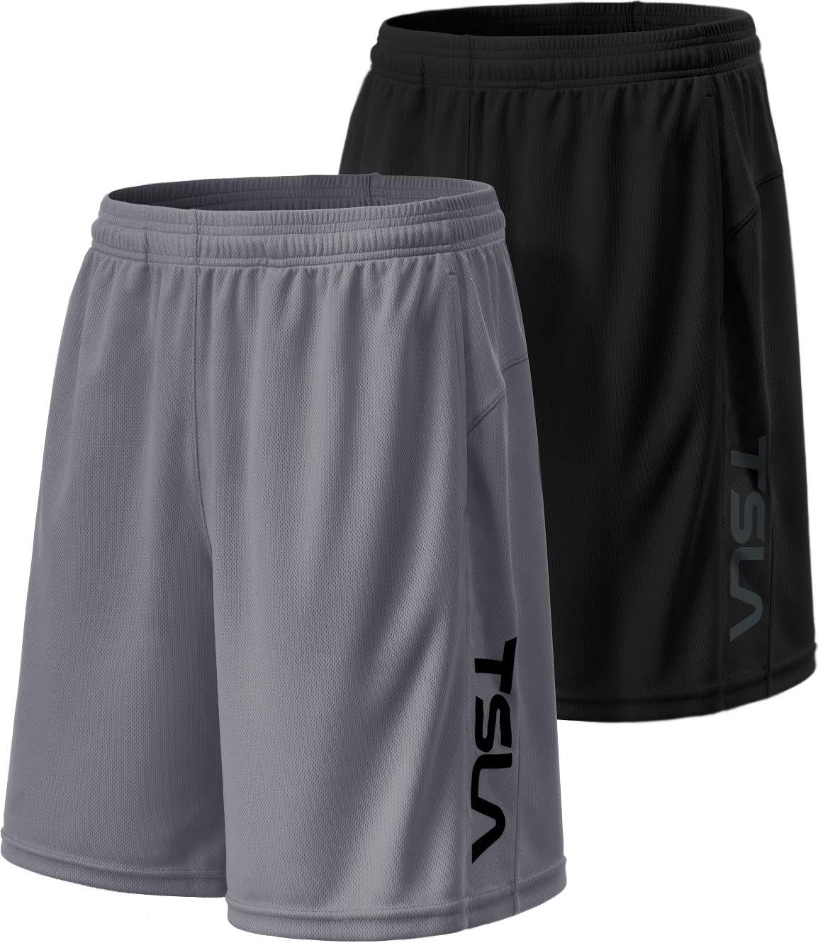 TSLA Men's HyperDri Cool Quick-Dry Active Lightweight Workout Performance Shorts (Pack of 2), Hyper Dri Dual Pack(mbh22) - Black/Grey, Small