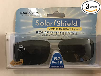 d1f5602e36 Image Unavailable. Image not available for. Color  3 SOLAR SHIELD Clip-on Polarized  Sunglasses Size 52 rec ...