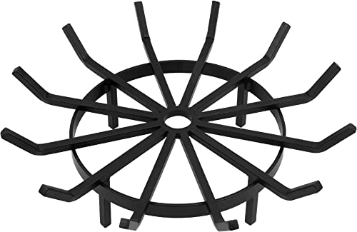 Amagabeli 24in Fire Grate Log Grate Wrought Iron Fire Pit Round Spider Wagon Wheel Firewood Grates Heavy Duty 0.7in Bar Fireplace Stove Burning Rack Holder 4Legs Black Chimney Hearth Kindling Stacking