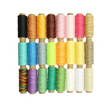 6 Stücke 50m 1mm Leder Nähen Wachsfaden Polyestergarn für Leder Nähen